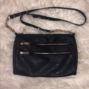 Nine West | Black Leather Gold Accent Crossbody